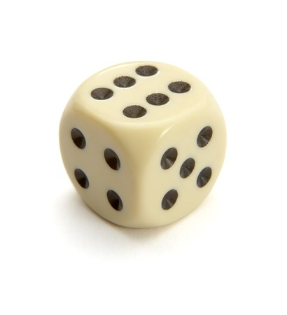 close up of dice on white background