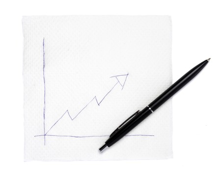 oscillation: close up of napkin and graph on white background Stock Photo