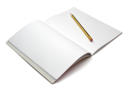 close up of notebook and pencil on white background Stock Photo - 4362594