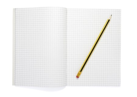 close up of notebook and pencil on white background Stock Photo - 4362635