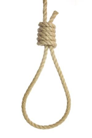 resignation: close up noose on white background