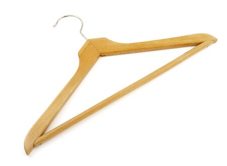 coathangers: close up of on a clothes hanger on white background Stock Photo