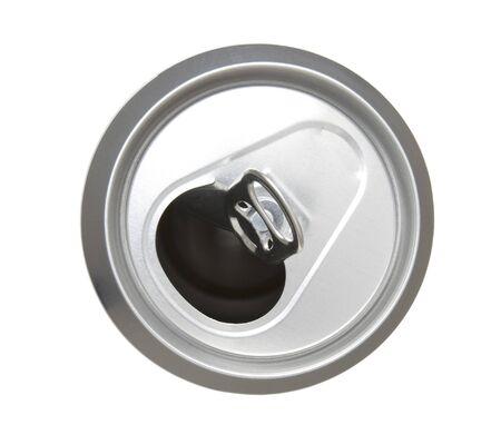 close up of tin on white background photo