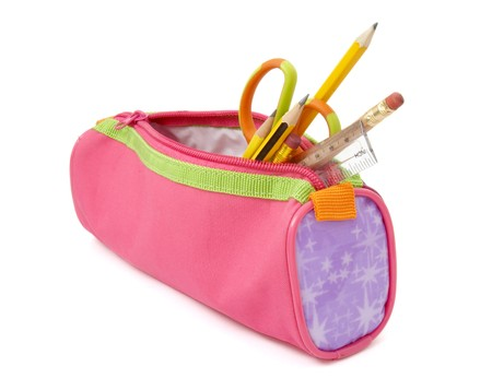 close up of school supplies in pencil case  on white background