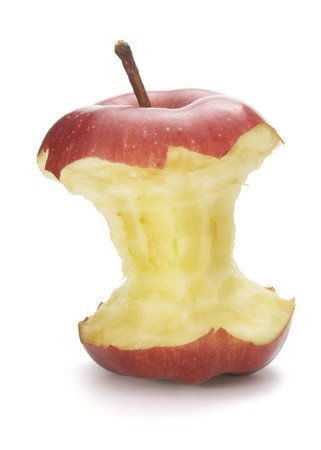bitten: close up of half eaten apple on white background with path
