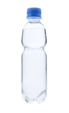 close up of bottle of water on white background with path photo