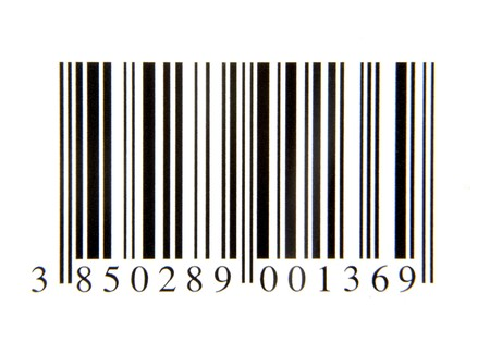 close up of bar code on white background