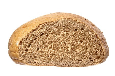 life loaf: still life of dark bread loaf on white background with path