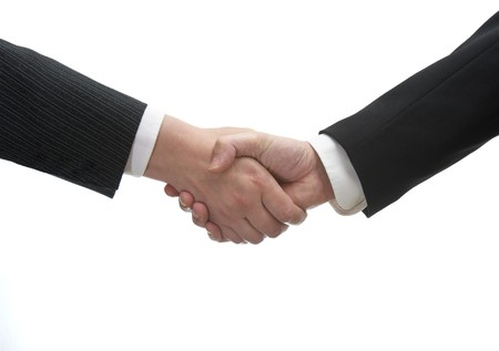 close up of two businesspeople shaking hands on white background with path Stock Photo - 4383250