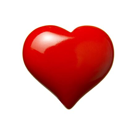 heart shaped: close up of red heart shape object on white background with path
