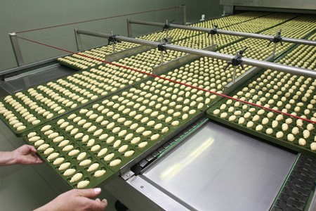 worker in interior of food industry production photo