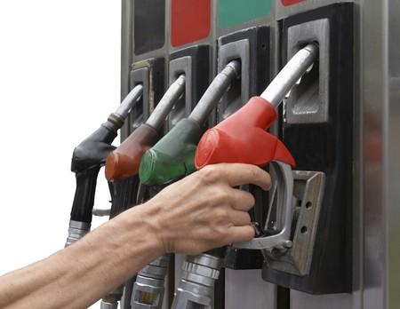 close up gas pumpon white background photo