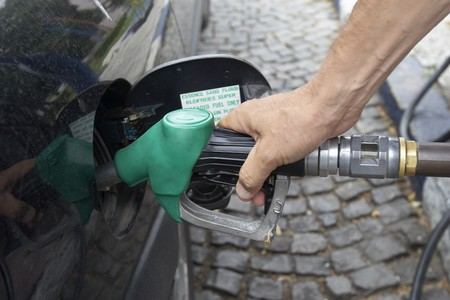 refueling: close up gas pump for refueling car on gas station Stock Photo
