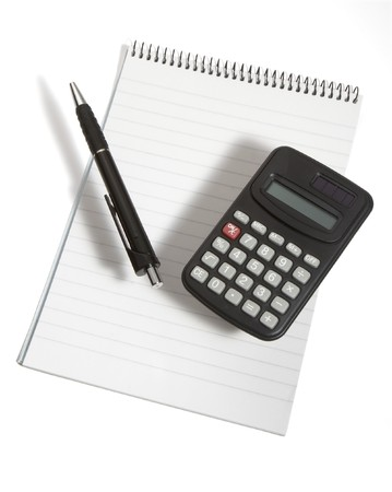 close up of notebook, pencil and calculator on white background  Stock Photo - 4417851