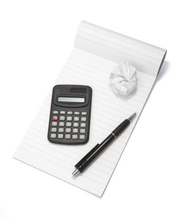 close up of notebook, pencil, calculator and used paper on white background  Stock Photo - 4417854