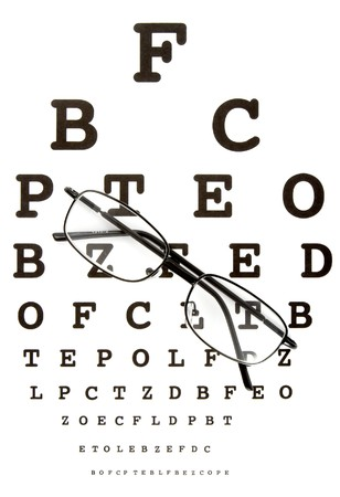 close up of glasses and snellen chart photo