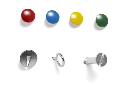 close up of various pushpins on white background with path photo
