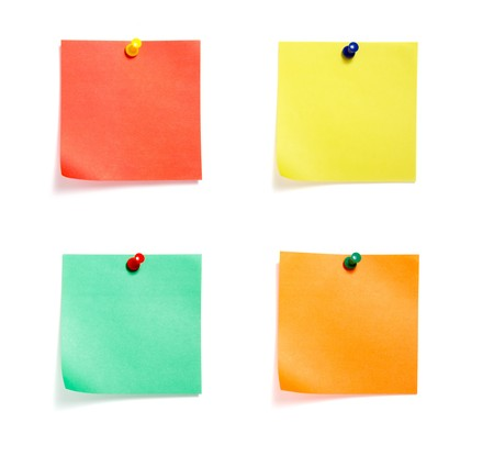 close up of postit reminders on white background . each one is in cameras full resolution photo