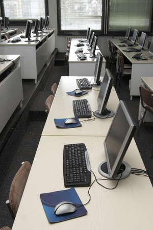place to learn: interior of classroom with computers Stock Photo