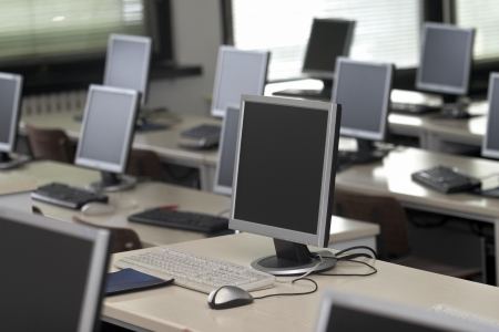 computer training: interior of classroom with computers Stock Photo