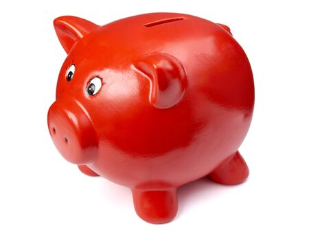 close up of piggy bank on white background photo