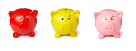 close up of piggy bank on white background . each one is in the full camera resolution photo