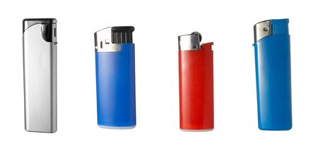 close up of lighters on white background . each one is in full camera resolution photo