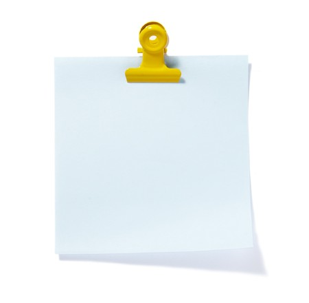 annotation: close up of post it reminders on white background Stock Photo