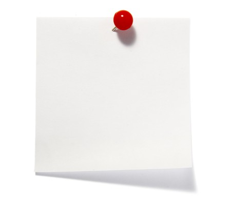 drawing pins: close up of post it reminders on white background Stock Photo
