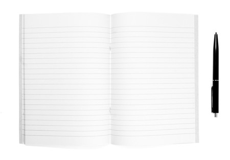 close up of notebook and pencil on white background Stock Photo - 4535447