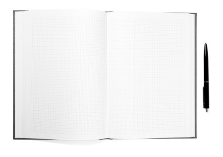 close up of notebook and pencil on white background Stock Photo - 4535464