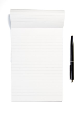 close up of notebook and pencil on white background Stock Photo - 4535404