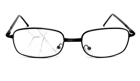 bad condition: close up of broken glasses on white background Stock Photo