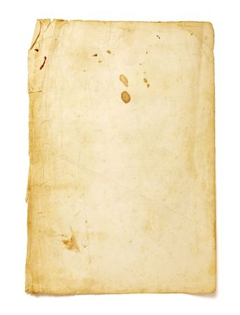 burned out: old brown grunge paper on white background Stock Photo