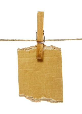close up of postit reminders and clothespins attached to a rope on white background Stock Photo - 4603462