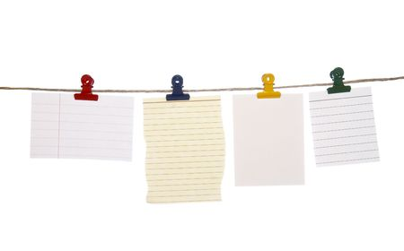 close up of postit reminders on a clothesline on white background Stock Photo - 4603417