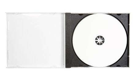 dvdrw: disc close up.blank disc inlay, open case on white background