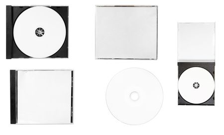 cd rw: disc close up.blank disc, front cover, back cover, inlay, open case on white background.each one is in full camera resolution.
