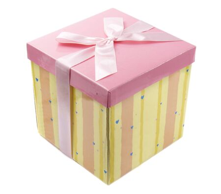 close up of present box  on white background photo