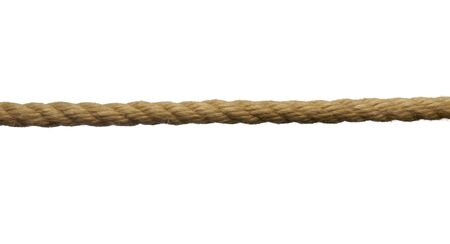 line up: close up of single rope line on white background