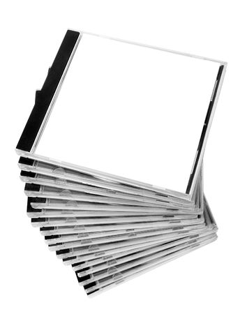 close up of stack of disk cases on white background photo
