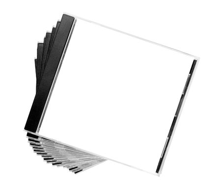 dvdrw: close up of stack of disk cases on white background Stock Photo