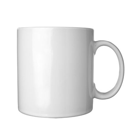 white coffee cup on white background photo