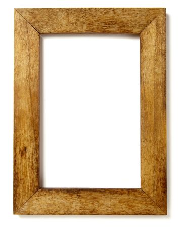 picture frame on wall: wooden frame for painting or picture on white background