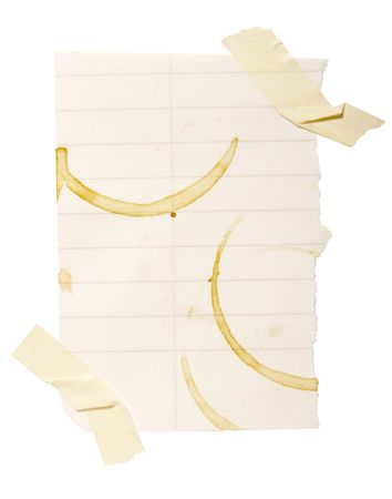 collection of reminders with coffee stain marks on white background . each one is in cameras full  resolution Stock Photo - 4655995