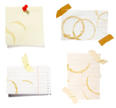 collection of reminders with coffee stain marks on white background . each one is in cameras full  resolution Stock Photo - 4655988