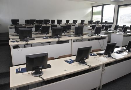 workstation: interior of classroom with computers Stock Photo