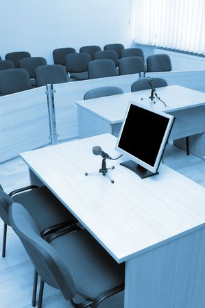 proceedings: interior view of court room office conference table