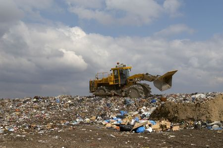 pile engine: overview of refuse collection with bulldozer