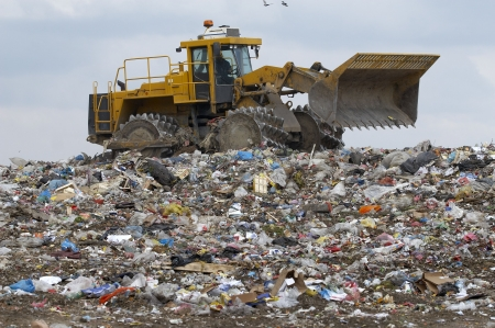 dumpster: overview of refuse collection with bulldozer